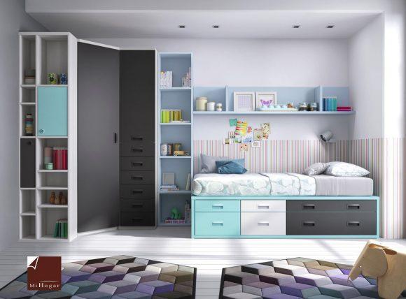 cama compacto juvenil y armario de rincón gala