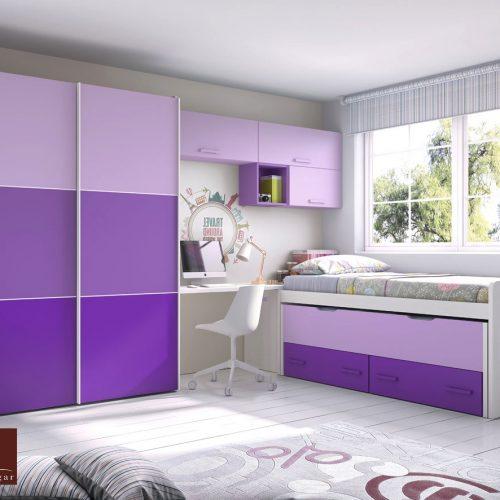 cama compacto extraible y armario puertas correderas juvenil gala