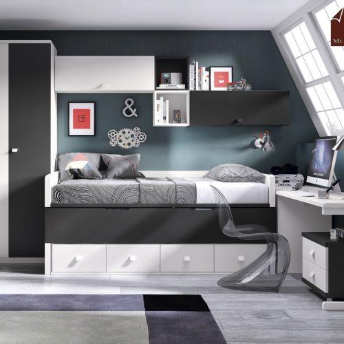 cama compacto juvenil y armario puerta batiente gala