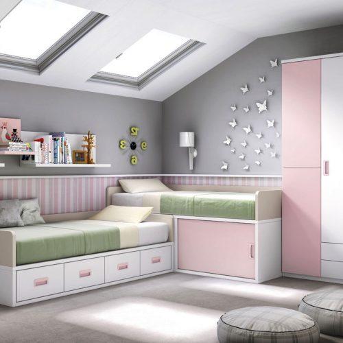 cama compacto trasera y armario puerta batiente juvenil gala