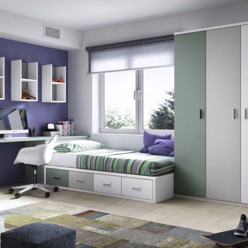 cama nido con armario de puertas batientes gala