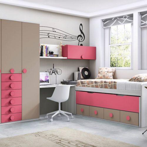compacto extrapole con armario de puertas batientes y cajones gala juveniles