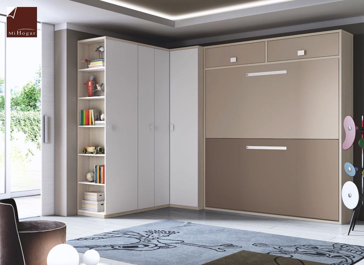 Litera abatible horizontal gala muebles mi hogar - Habitaciones juveniles con cama abatible ...