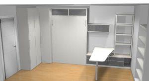 proyecto 3d cama abatible armario de rincón