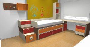 proyecto 3d cama compacto cajones apilables
