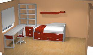 proyecto 3d cama compacto mesa esquina