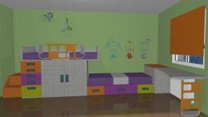 proyecto 3d cama tren infantil