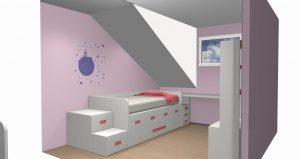 proyecto 3d habitacion abuardillada a