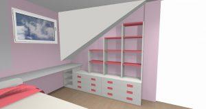 proyecto 3d habitacion abuardillada b