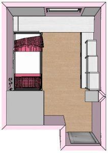 proyecto 3d habitacion abuardillada planta