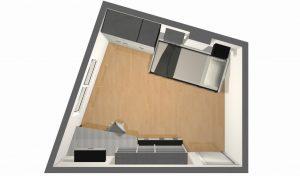 proyecto 3d habitacion irregular planta a