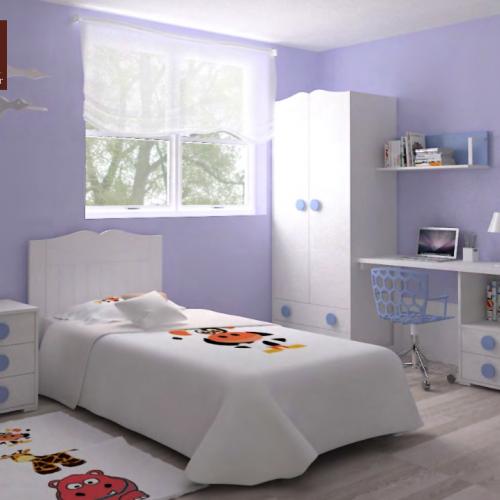 cama con cabecero dormitorios infantiles mvs