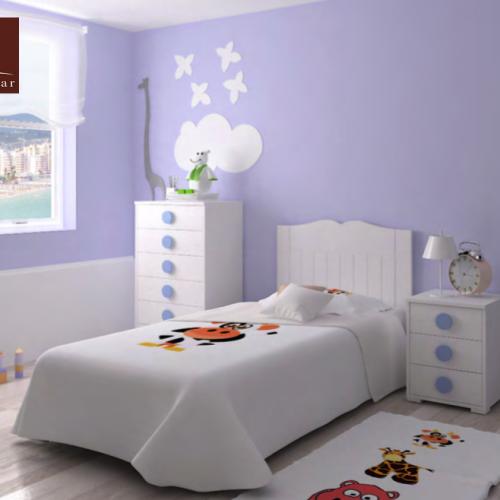 cama con cabecero y mesita dormitorios infantiles mvs