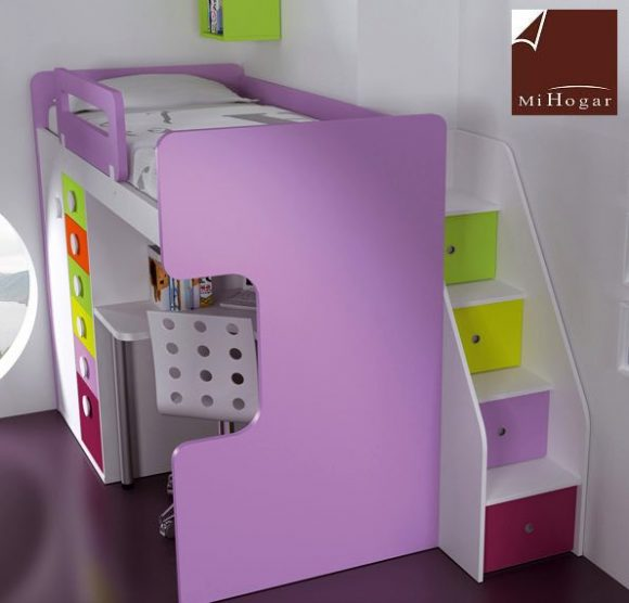 Literas lacadas malaca muebles mi hogar - Escaleras para literas infantiles ...