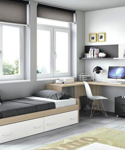 Dormitorios juveniles con dos camas compacto novedad con for Cama nido con dos camas y cajones