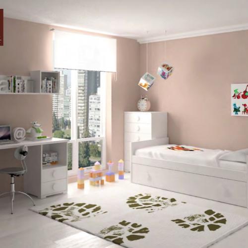 cama nido y extraible blanca dormitorios infantiles mvs