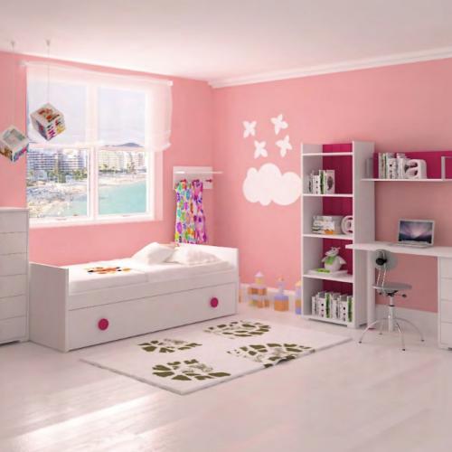 cama nido y extraible blanca y rosa dormitorios infantiles mvs