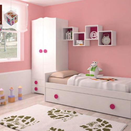 cama nido y extraible rosa dormitorios infantiles mvs