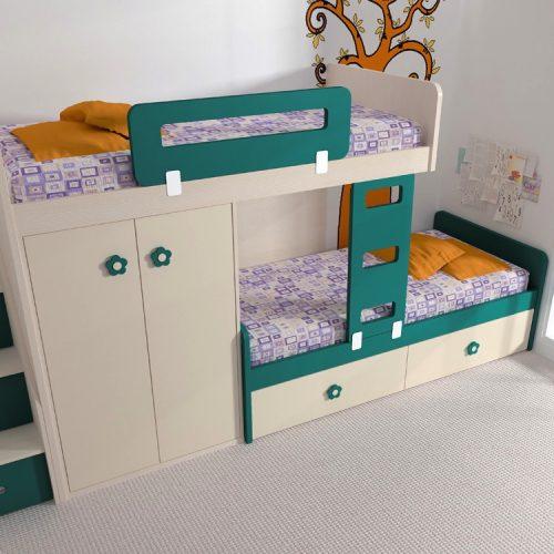 dos camas litera y armario puertas batientes - malaca