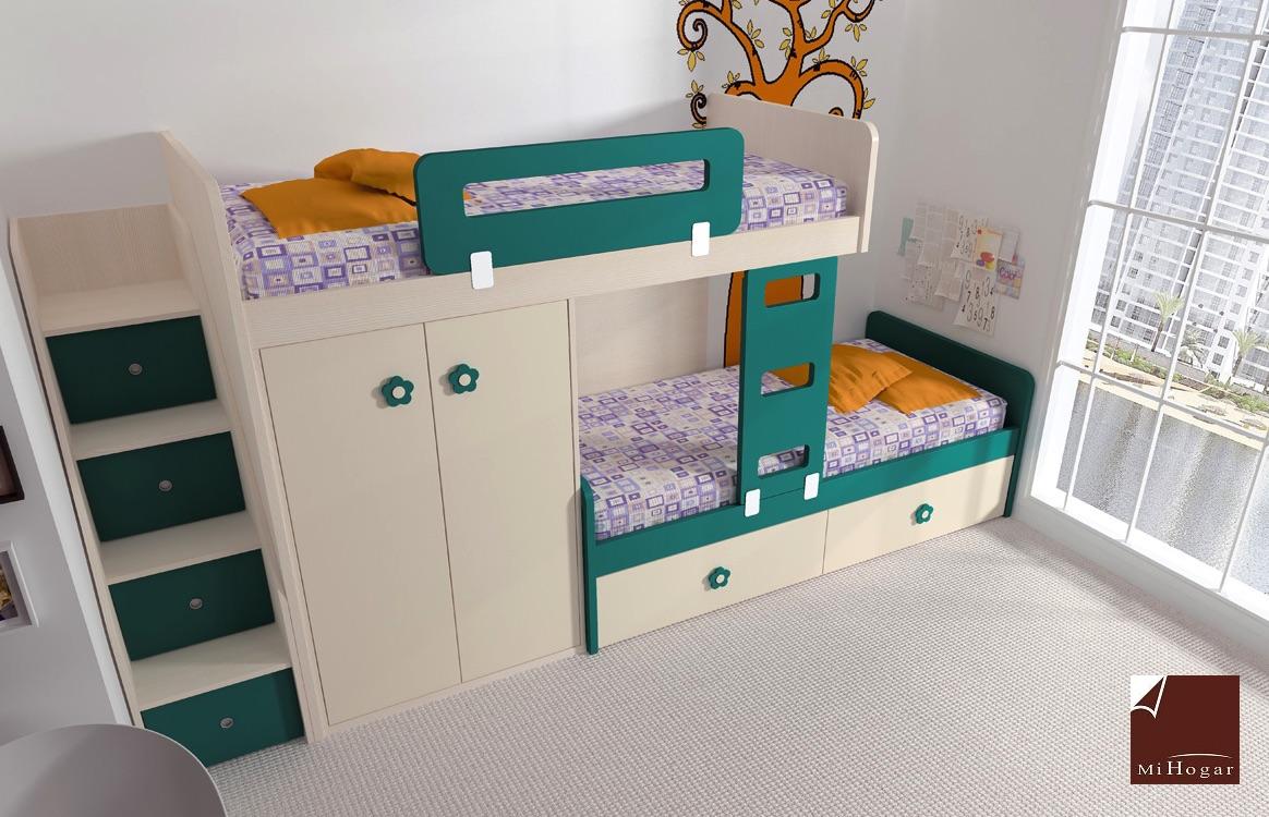 dos camas litera y armario puertas batientes malaca with infantiles dos camas
