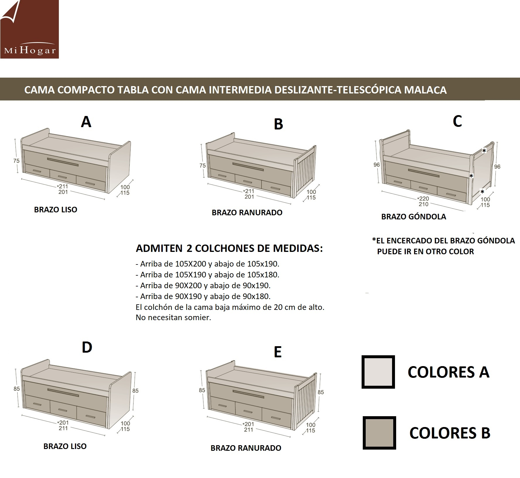 Cama compacto tabla lacada malaca muebles mi hogar for Camas de 1 05 juveniles