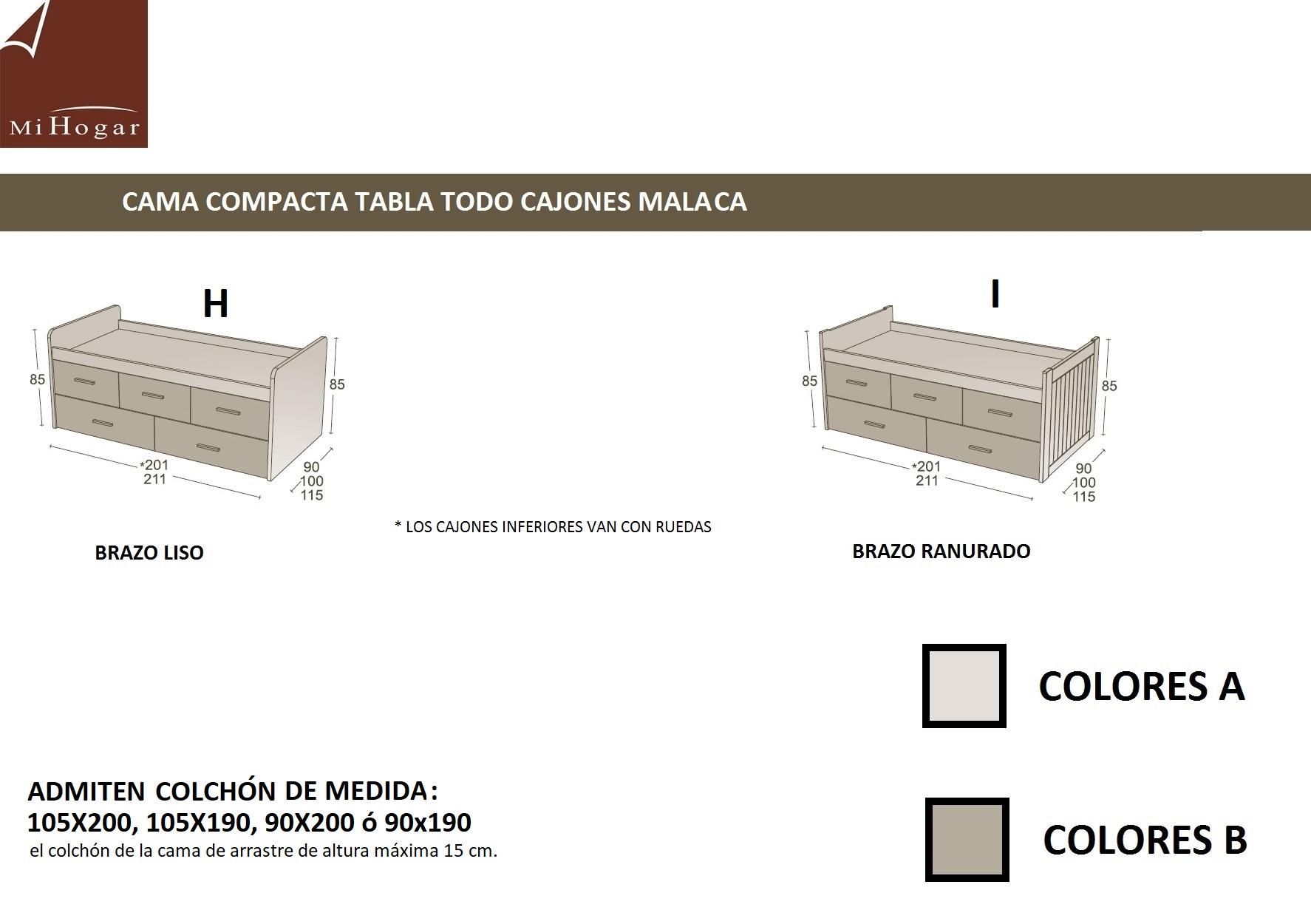 CAMA COMPACTO TABLA LACADA MALACA   MUEBLES MI HOGAR