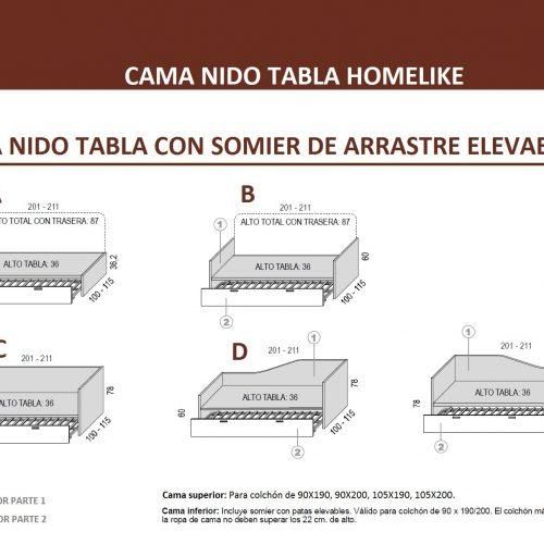 MEDIDAS-TÉCNICO CAMA NIDO TABLA CON SOMIER DE ARRASTRE ELEVABLE HOMELIKE