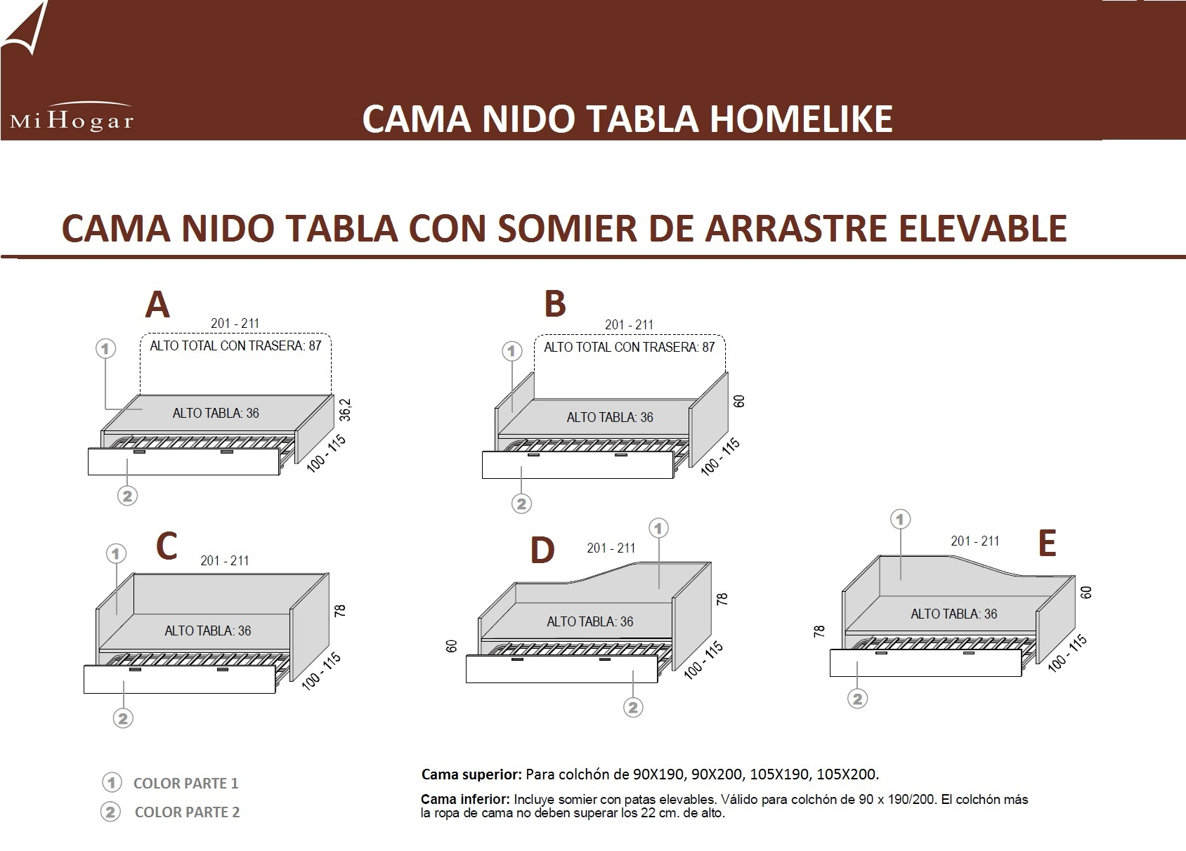 Cama nido tabla homelike muebles mi hogar for Medidas de king size y queen size