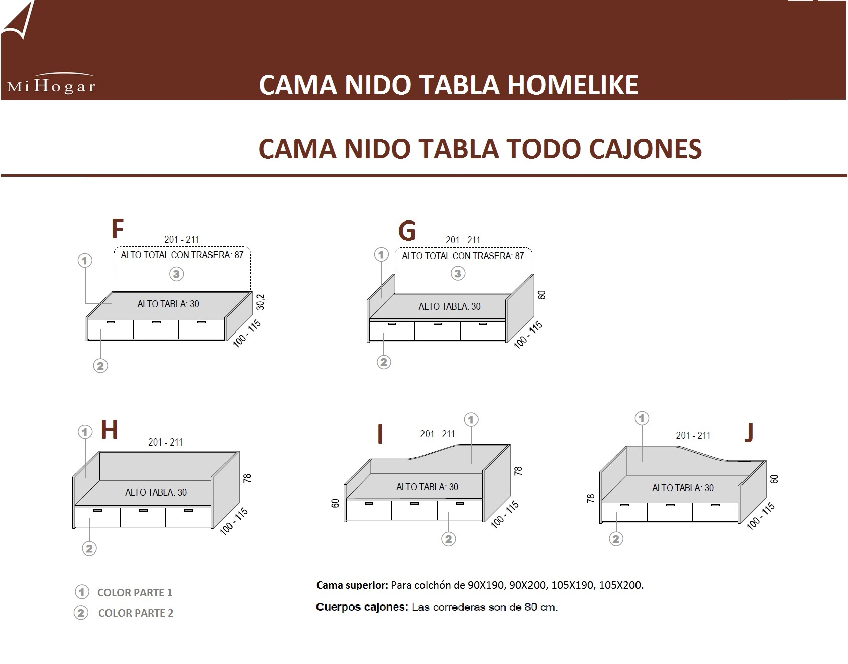 Cama nido tabla homelike muebles mi hogar for Medidas cama compacta