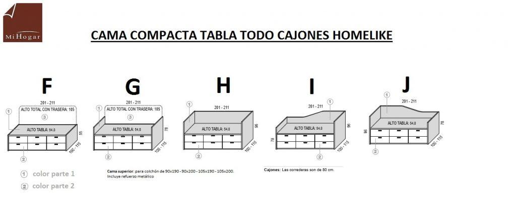 TÉCNICO-MEDIDAS CAMA COMPACTA TABLA TODO CAJONES HOMELIKE