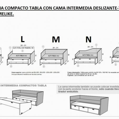 TÉCNICO-MEDIDAS CAMA COMPACTO TABLA CON CAMA INTERMEDIA DESLIZANTE-TELESCÓPICA HOMELIKE .