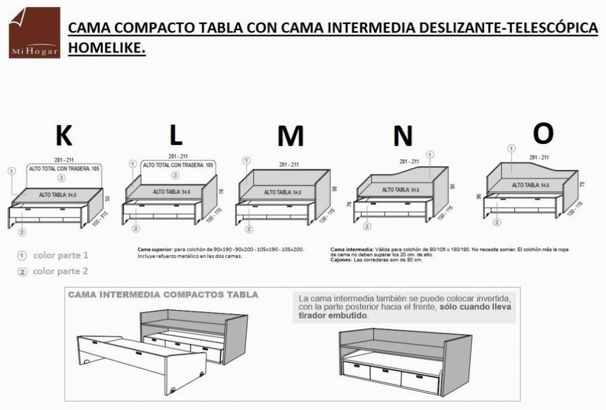 Cama compacto tabla homelike muebles mi hogar for Cuales son las medidas de las camas