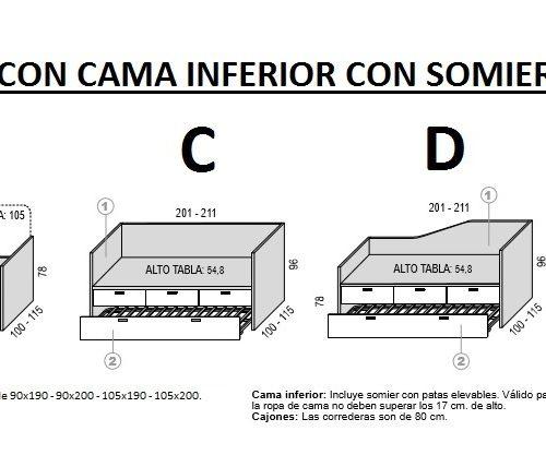 TÉCNICO-MEDIDAS-CAMA COMPACTO TABLA CON SOMIER DE ARRASTRE HOMELIKE