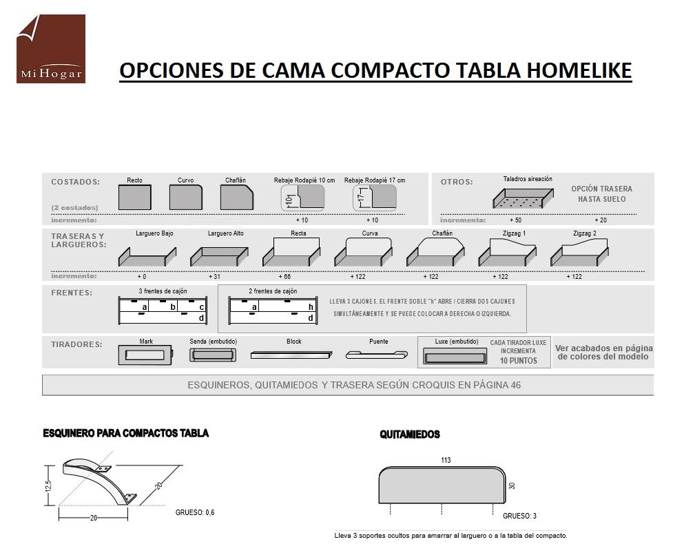 TECNICO OPCIONES EN CAMA COMPACTO TABLA HOMELIKE
