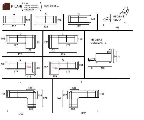 medidas sofa chaise longue rinconera pilar