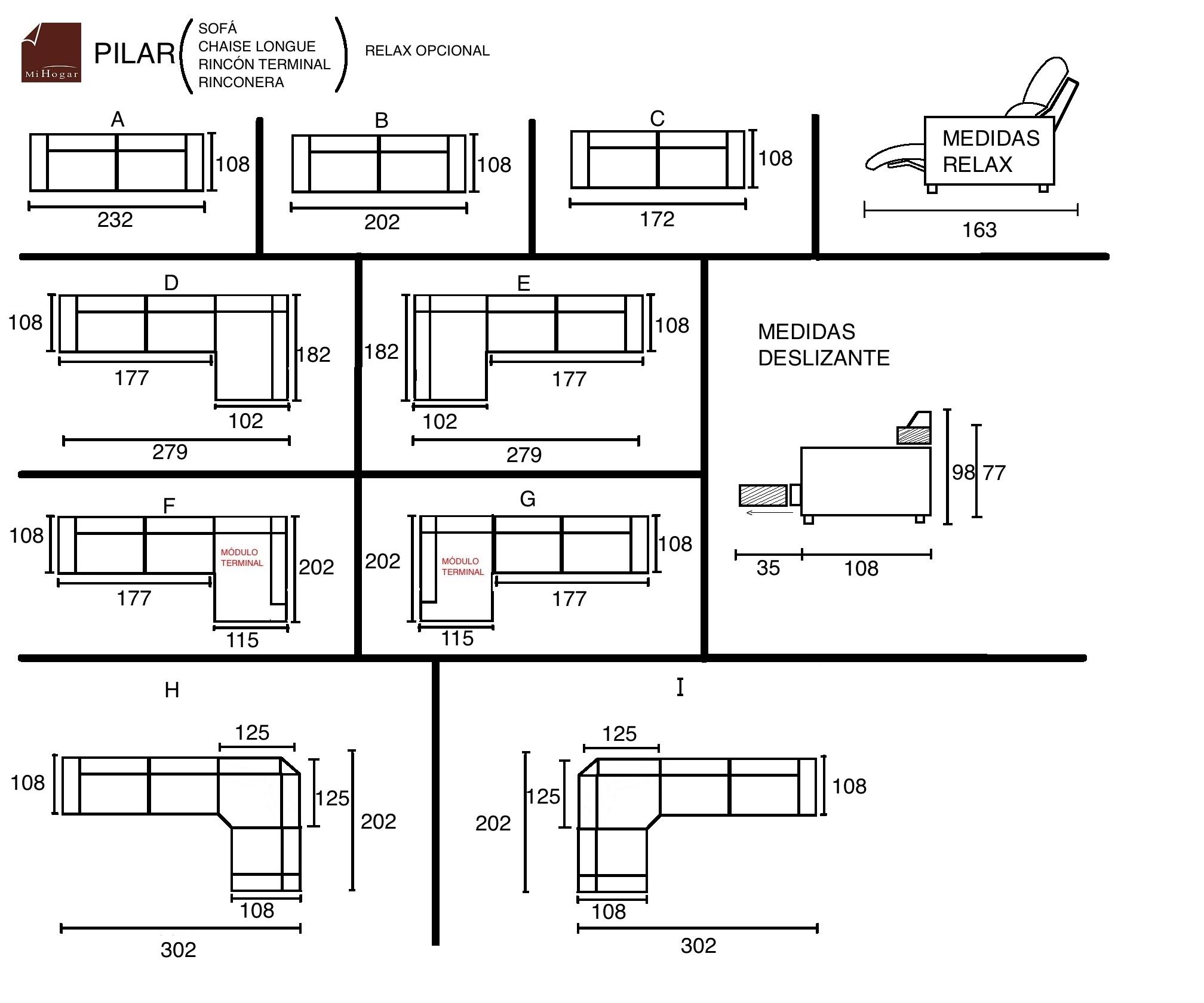 Chaise longue sof rinconera relax pilar muebles for Medidas sofa chaise longue