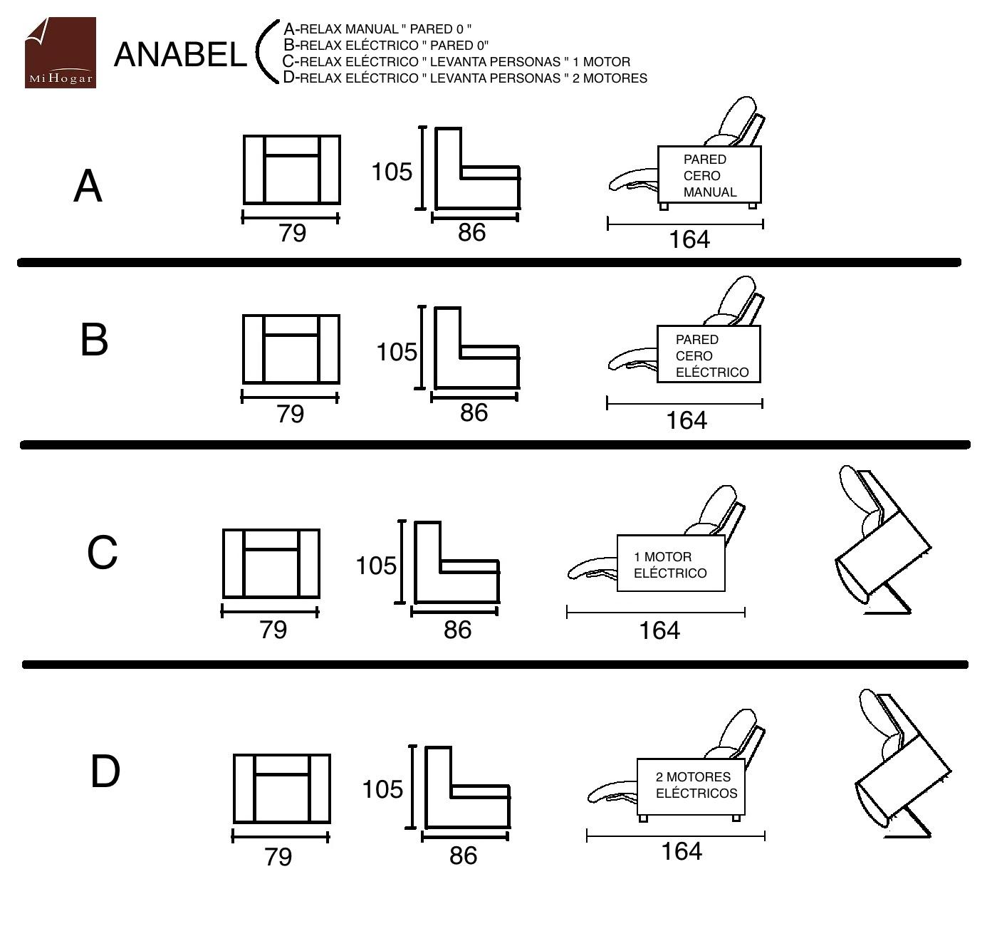 Anabel elevador sill n relax el ctrico o manual for Sillon en l medidas