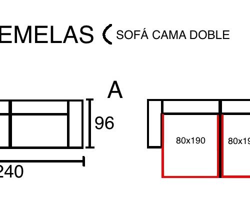 medidas sofa cama doble gemelas