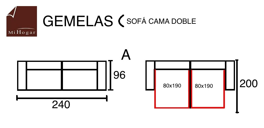 Gemelas sof cama doble muebles mi hogar - Medidas cama doble ...