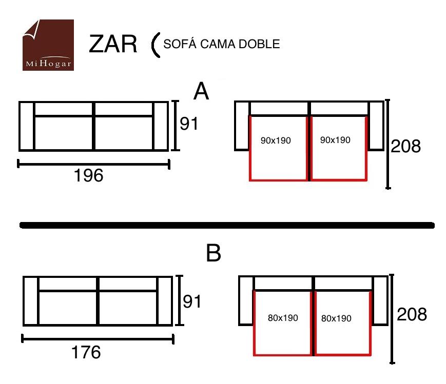 Zar sof cama doble muebles mi hogar for Sofa cama pequeno medidas