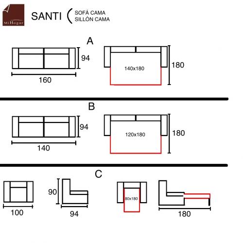 medidas sofa sillon cama santi