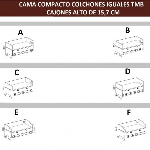 tecnico cama compacto colchones iguales cajones bajos tmb