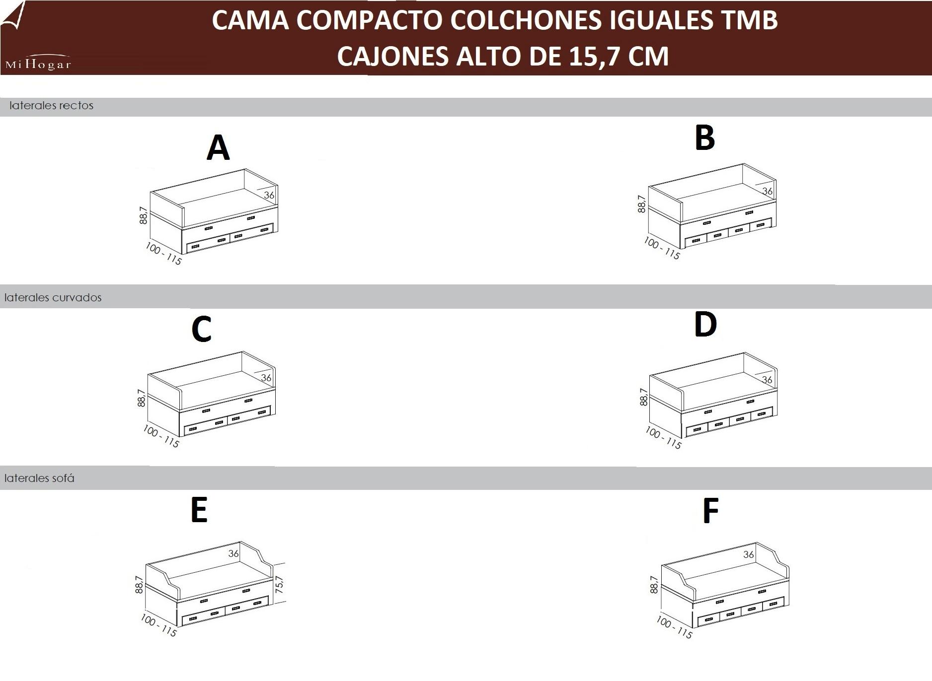 CAMA COMPACTO COLCHONES IGUALES TMB | MUEBLES MI HOGAR