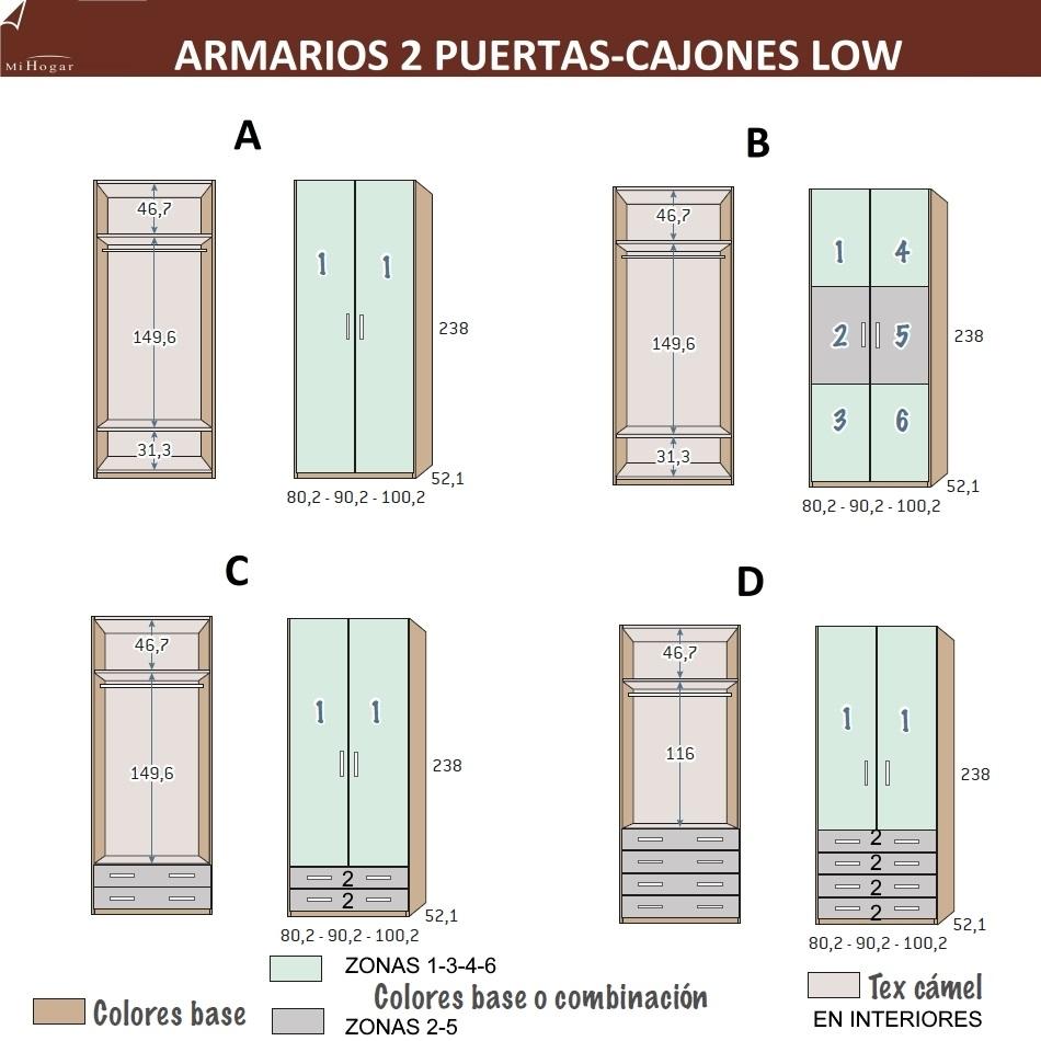 Armarios con 2 puertas batientes low muebles mi hogar - Medidas de un armario ...