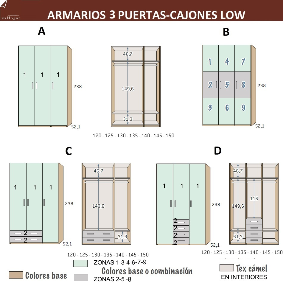 Armarios con tres puertas batientes low muebles mi hogar - Medidas puertas interiores ...