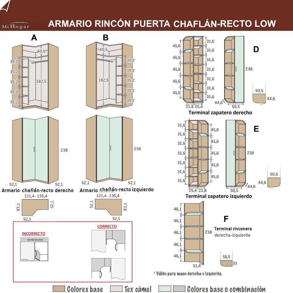 MEDIDAS ARMARIO RINCÓN PUERTA CHAFLÁN-RECTA LOW