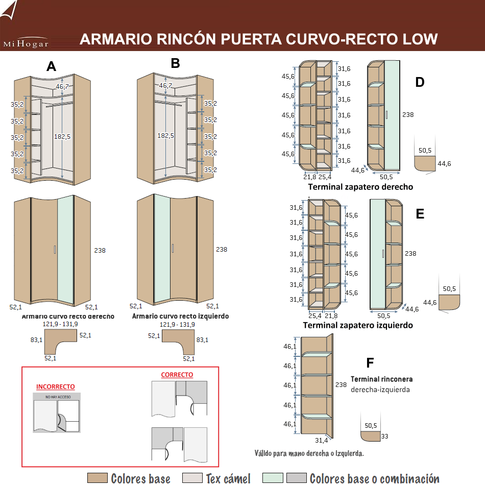 MEDIDAS ARMARIO RINCÓN PUERTA CURVA-RECTA LOW