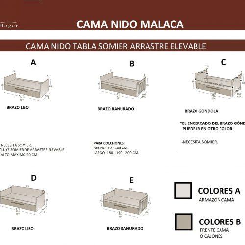 MEDIDAS CAMA NIDO MALACA SOMIER ARRASTRE ELEVABLE