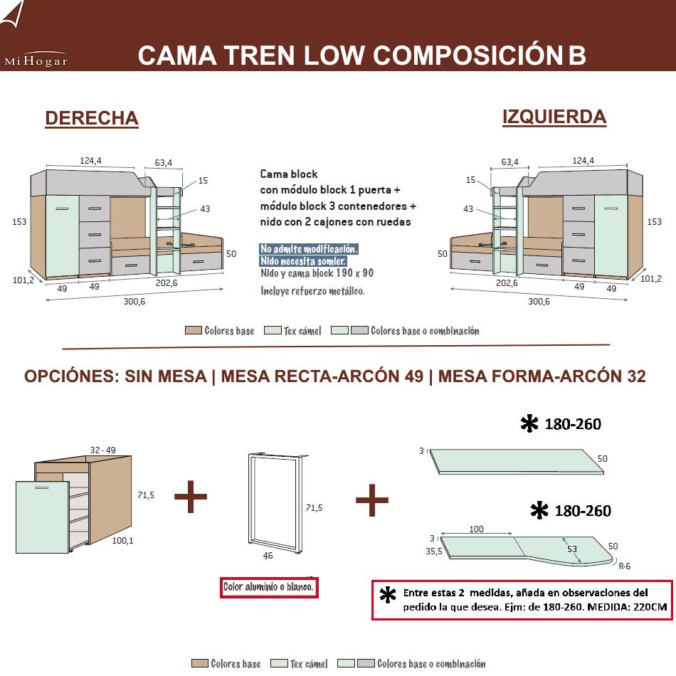Cama tren low muebles mi hogar for Medidas camas americanas