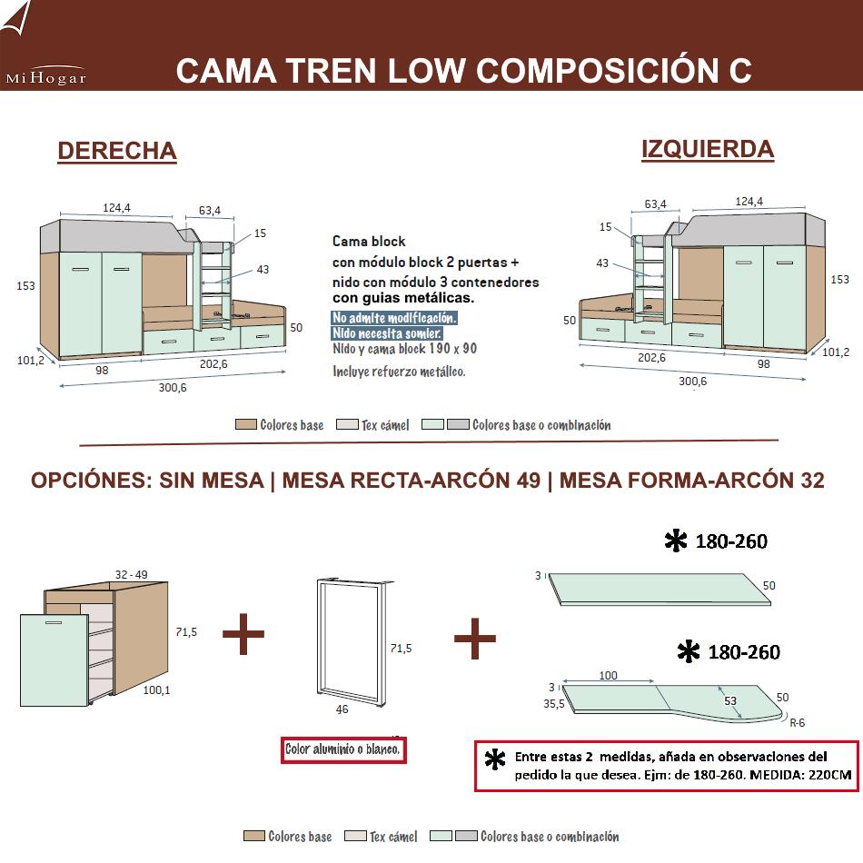 MEDIDAS CAMAS TREN COMPOSICION C DORMITORIO JUVENIL LOW